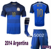 #10 MESSI Argentina Home Away Soccer (Jersey+short+sock) 2014 world Cup Full Set,2014-2015 football jersey with Socks
