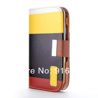 Muti-color Stripe Wallet Credit Card Holder Flip Stand Leather Case Cover for iPhone 5 5S 4 4S i9500 S4 S3 mini Note 2 N7100