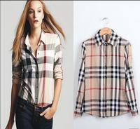 Free Shipping 2014 New Fashion Woman  Brand Blouses Women Long Sleeve Plaid Burb Shirts clothing, WB180028