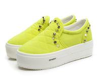 Hot Sale! 2014 Womens rivet canvas shoes platform sneakers flats canvas shoes flat heel casual sport shoes Mulheres sapatos