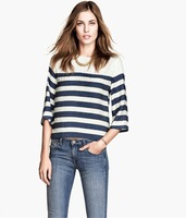 2014 New Women Navy Style Striped Prints Casual Chiffon Blouse Lady Fashion Shirt SW2180-G02