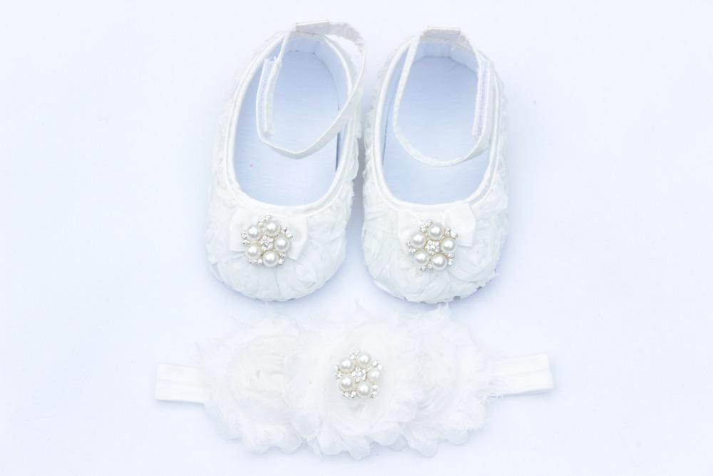 Bebê gril Vintage diamond / pearl Chiffon florido sapatinho de bebê & cabeça definir Rosette Shoestoddler shoes grátis frete 1 set/lote(China (Mainland))