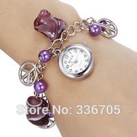 2014 New ArrivalFreeShipping 10pcs/lot Women's White Dial Purple Beads Quartz Analog Bracelet Watch35021#