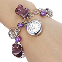 2014 New ArrivalFreeShipping 10pcs/lot Women's White Dial Purple Beads Quartz Analog Bracelet Watch35021#