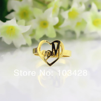 Mothers Day Gift Personalized Mom's Rings Customized Love Rings Customized Love Rings Cut 2 Initials In 2 Hearts Name Rings