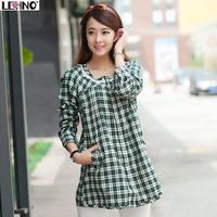 Small fresh design long plaid shirt long-sleeve shirt female school wear spring and autumn clothes