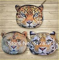 12pcs/lot  13.5CM 3D tiger printed coin purse tiger head bag change purses lion head mini wallet bag