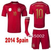 2014 spain home Xavi ISCO A Iniesta Fabregas David Villa Soccer (Jersey+short+sock) Full Set,14-15 football jerseys shorts Socks