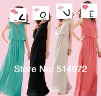 2014 New Summer Bohemian Women Chiffon Ankle-Length Long Dresses Sleeveless Vest Dress Free Shipping