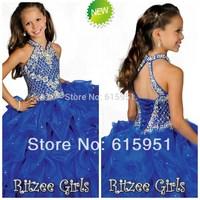 2014 New!!! Halter High Neckline Beaded Straps Beading Little Girls Pageant Dress Pleated Blue Organza Flower Girls Dress HT047