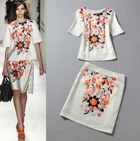 European Fashion Trend Catwalk Twinset 2014 Summer New Design White Half Sleeve Print Top+Aline Skirt Runway Suit Set For Women