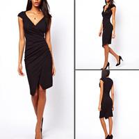 Hot Fashion Women Slim Sexy Black Elastic V-neck Asymmetry Fold  Pencil Dress Party 3396
