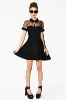 Free Shipping Black Short Sleeve Mesh Peak Collar Skater Dress Fashion Summer Dance Dress Patchwork Front Hollow Out Dress