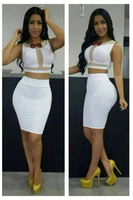 FreeShipping Sexy 2 Pieces Bandage Dress 2014 Summer White Cut Out dress Bodycon Mesh Party Dress Night Club Wear Fashion Women