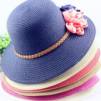 Spring xiaxin straw braid big dome wide brim women's beach sunbonnet fabric flower flat brim strawhat