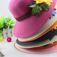 Flat brim women's sunbonnet sun summer beach casual wide brim straw braid artificial flower strawhat