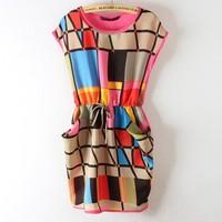 New Arrival 2014 Fashion Drawstring Multi Color Plaid Chiffon Geometric Dresses S/M/L Size free shipping
