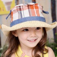 Spring child baby strawhat summer beach sun-shading wide brim sun hat