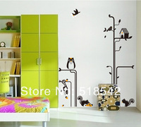 "Free Shipping:Owl Squirrel Bird Tree Cartoon PVC Wall Decals/Wall Stickers Mural For Kids Nursery Wall Decor 150*200cm/59""*79in"
