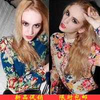 NEW ARRIVAL!!!2014 summer multicolour print shirt women's long-sleeve pads chiffon shirt chiffon shirt free shipping