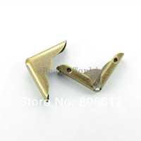 Free Shipping 100 Pcs Bronze Tone Punch Metal Book Scrapbooking Albums Menus Folders Corner Protectors 32x23mm(W03440 X 1)