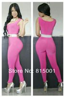 2014 New Summer Fashion High Quality Women Jumpsuits Purple Sleeveless Long Pants Overalls For Women vestidos 5750