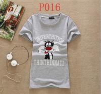 [dan]new New Arrival Hot Sale Women T Shirt 2014 Summer Cotton T-shirt Sleeve O Neck Cartoon Printed Tees 20models Shiping P016