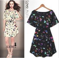 Free Shipping! 2014 New Wholesale girl print dress brand dresses wholesale loose bird print print dresses