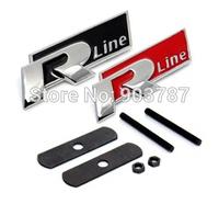 20pcs mix order metal rline  grill badges red /black letters vw r line emblem wholesale