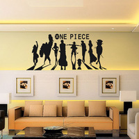Free Shipping Wholesale and Retail One Piece Cartoon Wall Stickers Wall Decors Decal Home Decoration