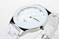 Luxury Elegant White Ceramic Water Resistant Sports Lady Women Dress Wrist Watch,Free shipping for women Rhinestone watches