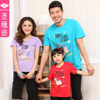 Family fashion short-sleeve summer parent-child T-shirt family of three set family pack mother and child clothes for mother and