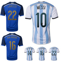 Top quality 2014 world cup Argentina home away MESSI DI MARIA KUN AGUERO LAVEZZI MARADONA MASCHERANO football soccer jerseys