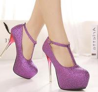 New 2014 fashion platform pumps sexy high-heeled shoes metal thin heels round toe platform shoes women's Wedding Shoes SN-117