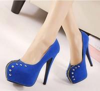 Europe and America High quality Punk Rivet Zip Pumps High-heeled shoes women Waterproof Nightclubs Sexy free shipping SN-116