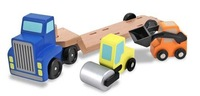Free Shipping!Wooden Toys Low Loader Wooden Vehicles Play Set Gift for Boy