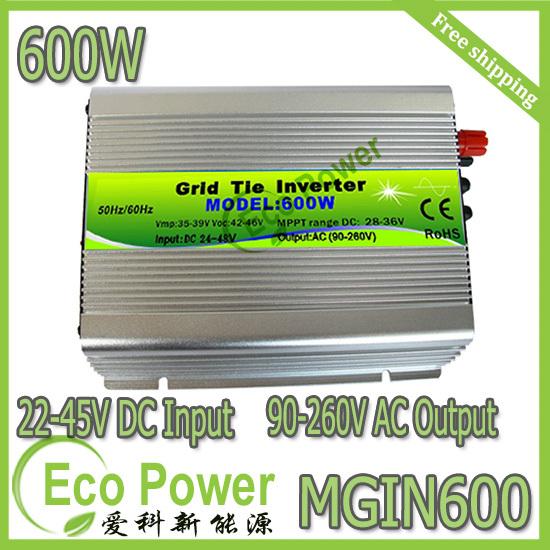 Free shipping CE & ROHS 600W mppt solar power grid tie inverter pure sine wave 20-40V or 22-45V DC input 90-260V AC output(China (Mainland))