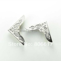 Free Shipping 50 Pcs Silver Tone Metal Carving Book Scrapbooking Albums Menus Folders Corner Protectors 42x30mm(W03456 X 1)