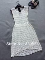 2014 new women summer cotton knit dress hook flower