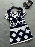 2014 new women summer cotton short-sleeve dress spell color geometric
