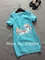 2014 new women summer seersucker short-sleeve dress embroidered horse