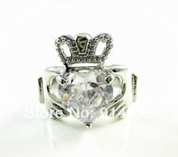 14K White Gold Plated Clear CZ Crown Heart Irish Claddagh Promise Ring U Pick Size