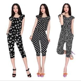 2014 plus size harem pants jumpsuit capris pants slim polka dot jumpsuit(China (Mainland))