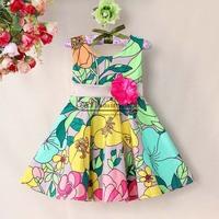 2015 Fashion Girls Floral Dresses Top Grade Girls Summmer Dress Cotton Blend  Girls Causal Wear Kids Clothing Wholesell