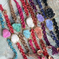 Multicolor crystal lotus mann ore drupelets 100% cotton knitted bracelet