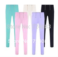 SZIE S-XXXXXL 5color Spring and summer NEW 2014 slim elastic zipper plus size high waist black spring legging thin casual pants