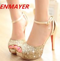 ENMAYER  2014 new fashion sandals summer women fashion sexy open toe high heels 11.5cm sandals women wedding shoes nightclub