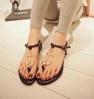 New 2014 Fashion Brand Women's Shoes Pirates Anchor T Belt Clip Toe Comfortable Flat Rubber Soles Flat Sandals Size 35-40