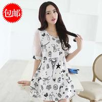 2014 summer loose plus size organza a-line skirt print short-sleeve dress