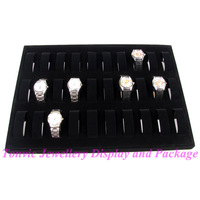 free shipping Black velvet wooden table boxes, 30 watch display cases Portable watch display shelf